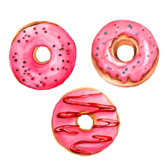 Donuts aquarell gesetzt