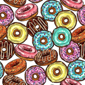 Donuts bright colourful seamless pattern