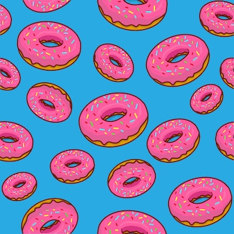 Donuts hintergrund, donut cartoon, donut nahtloses muster