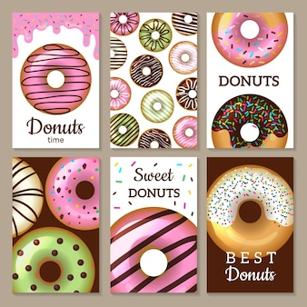 Donuts karten design. süßigkeiten farbige karten mit glasierten runden kuchen lebensmittel strukturierte vorlagen.