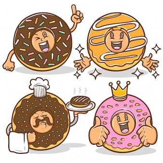 Donuts maskottchen charakter niedlich emoticon aufkleber set