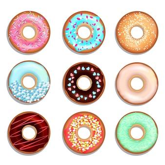 Donuts mit sahne und schokolade.