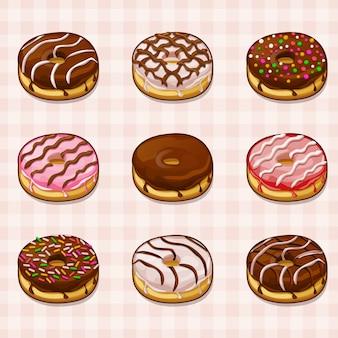 Donuts mit verschiedenen füllungen und zuckerguss