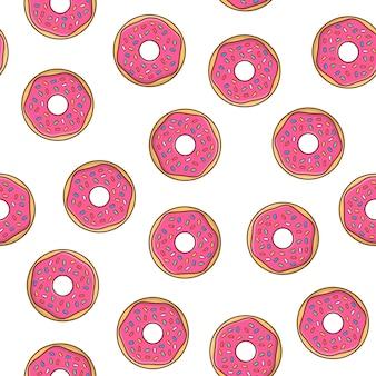Donuts nahtloses muster auf einem weißen hintergrund. leckere donuts mit glasur und pulver-symbol-vektor-illustration
