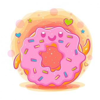 Donuts niedlichen kawaii karikatur