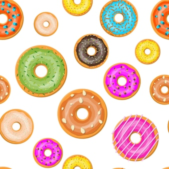 Donuts verschiedener geschmacksrichtungen nahtloses muster