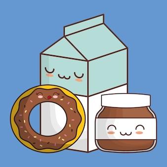 Donutschokolade verbreitete milch kawaii nahrung