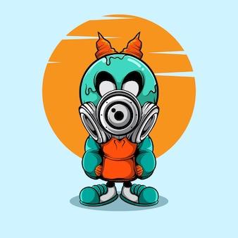 Doodel-charakter mit horn und gasmaske