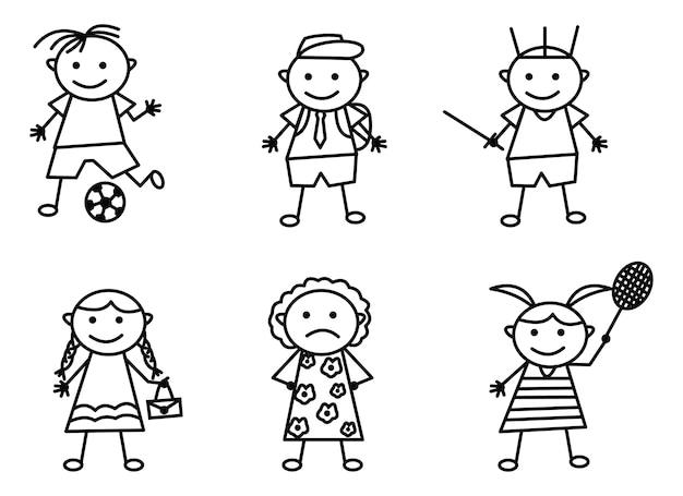 Doodle art set mit verschiedenen aktivitäten