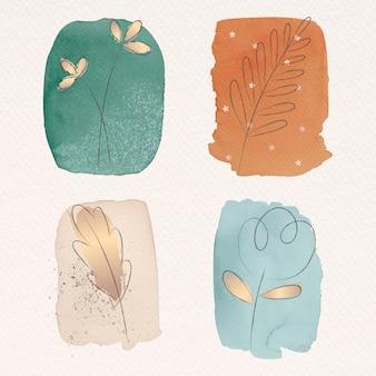 Doodle-blume auf aquarell-textur-set