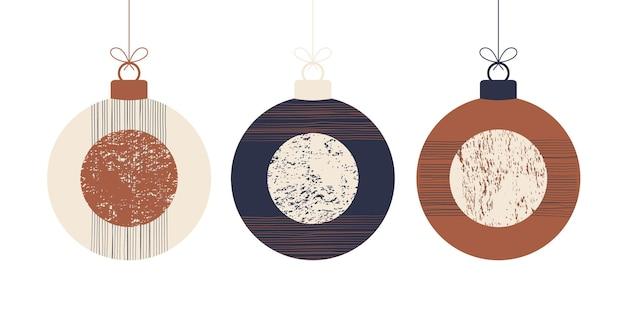 Doodle boho weihnachtskonzept kugeln set. dekoration spielzeug mit quasten, fransen isoliert auf weißem hintergrund. pastell- und terrakottafarben festliche dekoration. vektor-illustration des neuen jahres.