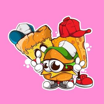 Doodle burger pizza und große käse-vektor-illustration
