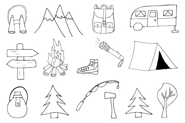 Doodle-camping-icon-sammlung. handgezeichnete camping-icon-sammlung.