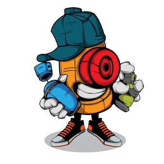 Doodle cap charakter mit spraydose in der hand illustration