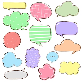 Doodle cartoon bubble set leere talkbox bunte set