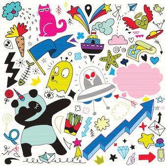 Doodle-cartoon-reihe von objekten und symbolen vol.3