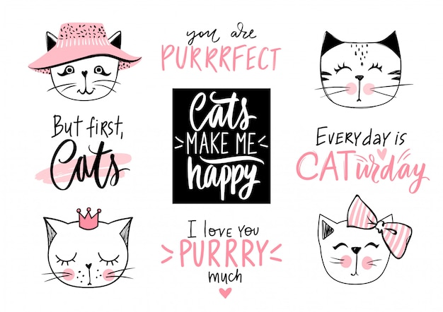 Doodle cats illustration und kätzchen zitate, miau schriftzug. nettes set mit lustigen hipster-haustieren, mode-kitty-phrasen