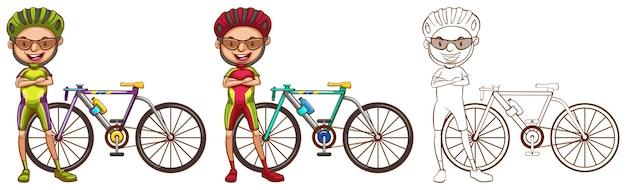 Doodle-charakter für den mann, der radfahren macht