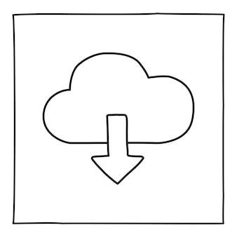 Doodle cloud download symbol oder logo, handgezeichnet mit dünner schwarzer linie