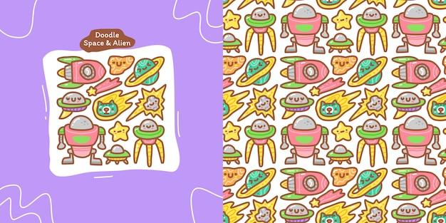 Doodle collection set aus raum und alien-element und nahtlosem muster