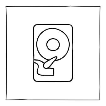 Doodle-computer-festplattensymbol handgezeichnet mit dünner schwarzer linie