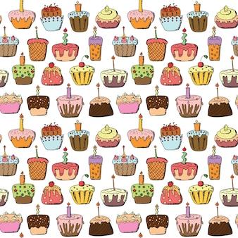 Doodle cupcake nahtlosen musterhintergrund