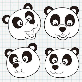 Doodle cute panda face collection