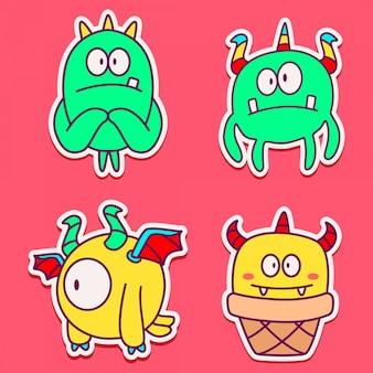 Doodle design cartoon monster aufkleber vorlage