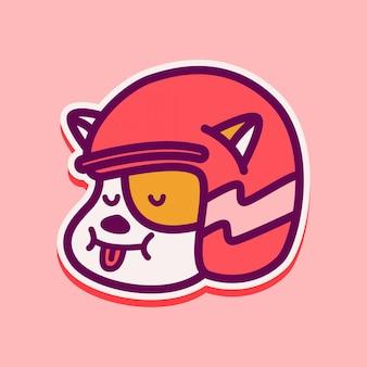 Doodle design lustige katze aufkleber illustration