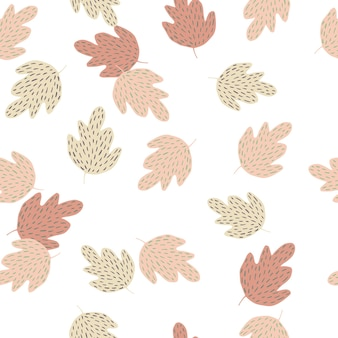 Doodle eichenlaub nahtlose muster isoliert auf weißem hintergrund. einfache naturtapete. herbstblatthintergrund. für stoffdesign, textildruck, umhüllung, abdeckung. vektor-illustration.