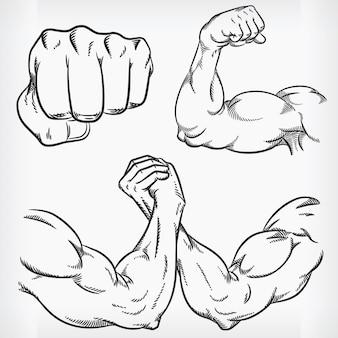 Doodle fitness-studio skizze bodybuilding-zeichnung