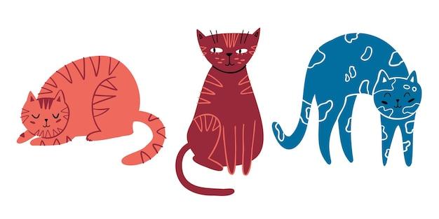 Doodle flacher satz von niedlichen katzen handgezeichnete katzen isoliert auf weißem hintergrund c