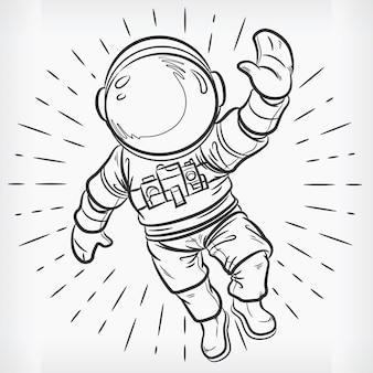 Doodle floating astronaut einfache skizzenzeichnung