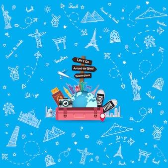 Doodle flugzeug um die welt konzept sommer banner flugzeug antenne einchecken mit top weltberühmten wahrzeichen.