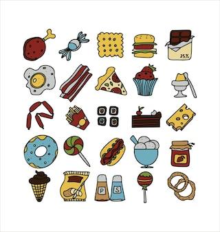 Doodle-food-set von fastfood-produkten eine große reihe von cartoon-food-illustrationen