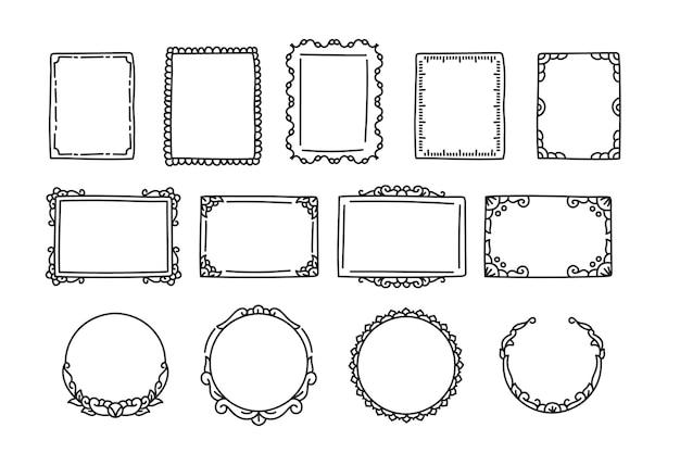 Doodle frame pack handgezeichneter stil