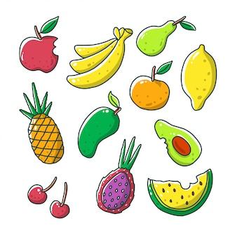 Doodle fruits set