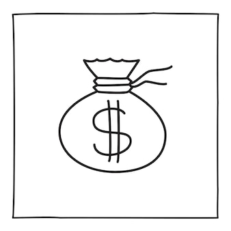Doodle geldbeutel-symbol oder logo, handgezeichnet mit dünner schwarzer linie.