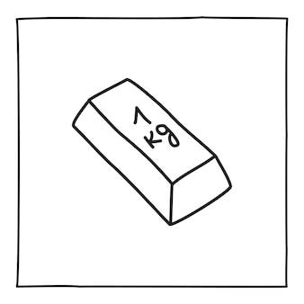 Doodle goldener barren 1 kg symbol handgezeichnet mit dünner schwarzer linie