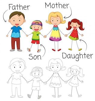 Doodle-grafik der familie