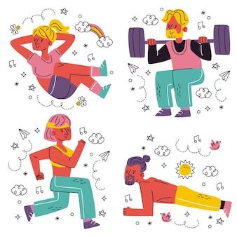 Doodle handgezeichnete trainingsaufkleber