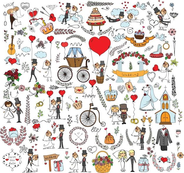 Doodle hochzeitsset für einladungskarten, einschließlich dekorative elemente des schablonendesigns - blumen, braut, bräutigam, kirche, herzen