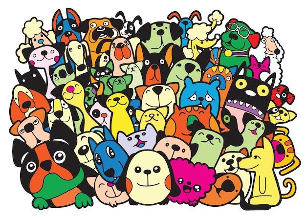 Doodle hunde und katzen gruppe