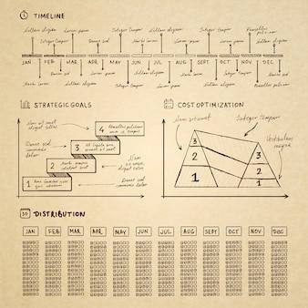 Doodle infografiken elemente für business-präsentation
