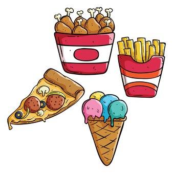 Doodle junk-food-sammlung