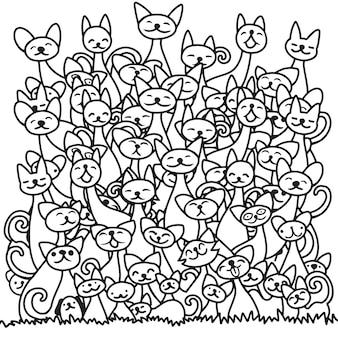 Doodle katzen haufen