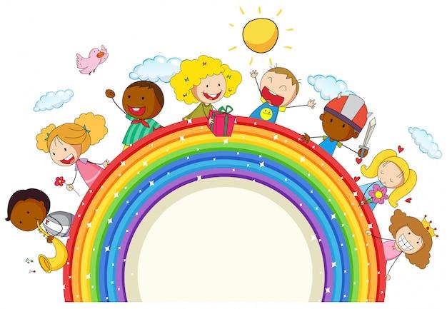 Doodle kinder auf dem regenbogen