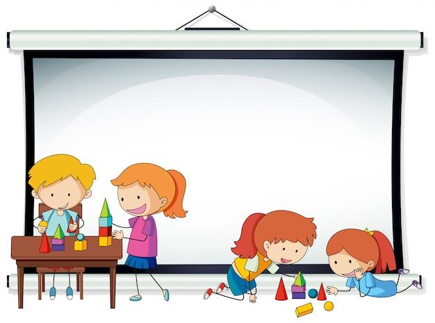 Doodle kinder auf projektor bildschirmvorlage