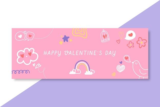 Doodle kindlichen valentinstag facebook-cover