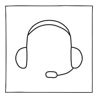 Doodle kopfhörer telefonsymbol oder logo, handgezeichnet mit dünner schwarzer linie.
